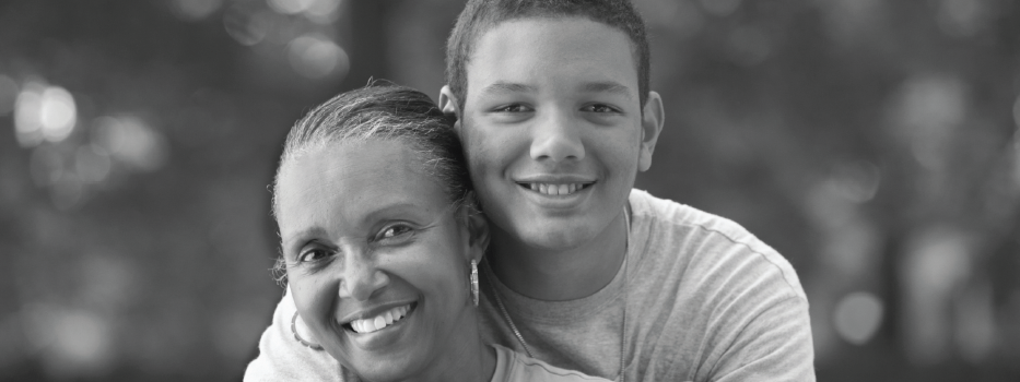 Mom and Son BW